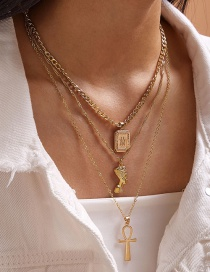 Fashion Gold Color Cross Head Alloy Multilayer Necklace