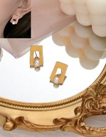 Fashion Yellow Square Pearl Drip Glaze Alloy Earrings