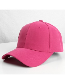 Fashion Metal Buckle-rose Red Solid Color Cotton Cap With Long Curved Eaves