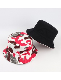 Fashion Rose Red And White Camouflage Face With Foldable Sunshade Fisherman Hat