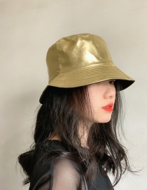 Fashion Gold Color Patent Leather Double-sided Foldable Fisherman Hat