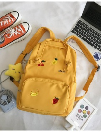 Fashion Yellow Star Pendant Embroidered Fruit Nylon Backpack