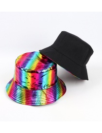 Fashion Color (back Black) Patent Leather Double-sided Reflective Foldable Fisherman Hat