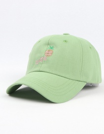Fashion Mint Green Pineapple Embroidered Curved Cap