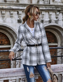 Fashion White Slim-fit Plaid Double-breasted Small Blazer