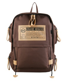 Fashion Brown Oxford Cloth Letter Label Backpack