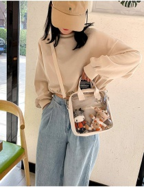 Fashion Transparent White Without Doll Pendant Cute Solid Color Stitching Crossbody Shoulder Bag