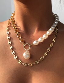 Fashion Gold Color Alloy Pearl Pig Nose Chain Double Necklace