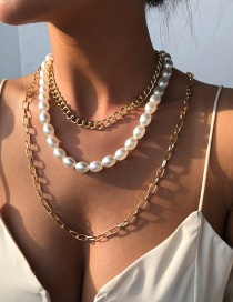 Fashion Gold Color Alloy Pearl Ot Buckle Multilayer Necklace