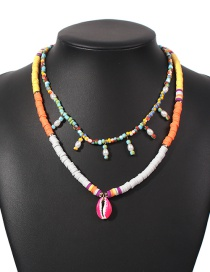 Fashion Color Rice Beads Shell Beaded Double Necklace