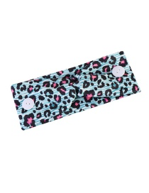 Fashion Light Blue Leopard Point Elastic Knotted Printed Wide-brimmed Button Elastic Headband