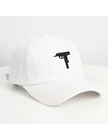 Fashion White Pistol Embroidery Curved Cap