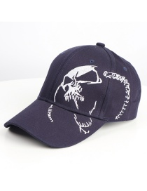 Fashion Navy Ghost Face Skull Embroidery Curved Brim Cap
