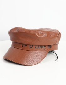 Fashion Brown Flat-top Pu Leather Letters Printed Octagonal Beret