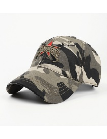Fashion Camouflage Five-pointed Star Soft Top Camouflage Letter Embroidery Cap