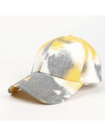 Fashion Yellow Gray Tie-dyed Open Cross Ponytail Graffiti Sunscreen Cap