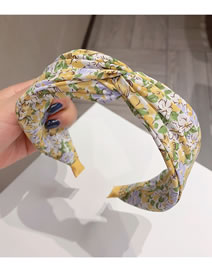 Fashion Yellow Bottom Floral Flower Print Cross Fabric Wide-brimmed Headband