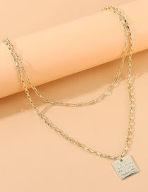 Fashion Golden Square Letter Embossed Alloy Double Necklace