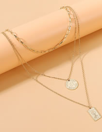 Fashion Golden Round Relief Alloy Multi-layer Necklace