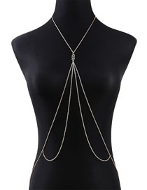 Fashion Golden Geometric Hollow Alloy Body Chain