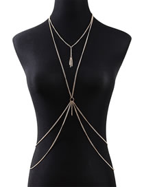 Fashion Golden Tasseled Geometric Alloy Hollow Body Chain