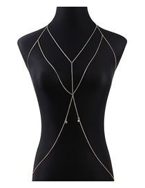 Fashion Golden Alloy Body Chain With Diamond Cross Geometry