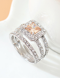 Fashion Golden Phantom Square Alloy Hollow Ring With Zircon Crystals