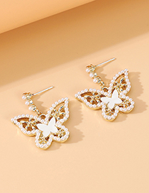 Fashion Golden Small Butterfly Pearl And Diamond Alloy Hollow Earrings