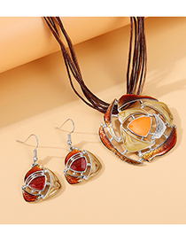 Fashion Brown Painting Oil Flower Alloy Hollow Necklace Earring Set