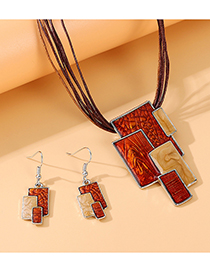 Fashion Brown Painted Geometric Alloy Necklace And Earrings Set