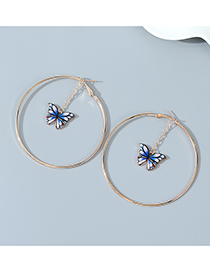 Fashion Blue Painted Oil Butterfly Alloy Round Earrings
