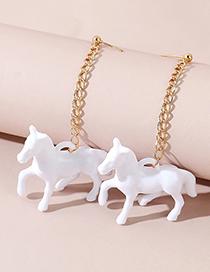 Fashion White Acrylic Trojan Horse Alloy Chain Stud Earrings