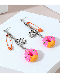 Fashion Red Head Donut Resin Pin Alloy Stud Earrings
