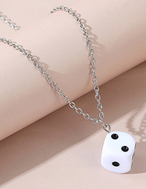 Fashion White Resin Dice Alloy Necklace