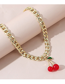 Fashion Red Cherry Resin Thick Chain Alloy Necklace