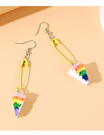 Fashion Color Mixing Resin Pin Small Cake Earrings