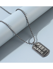 Fashion Silver Geometric Arrow Round Bead Chain Mens Necklace