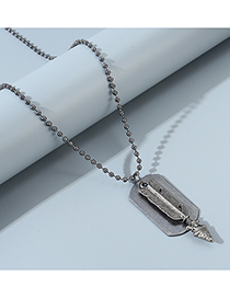 Fashion Silver Feather Arrow Geometric Round Bead Chain Mens Necklace
