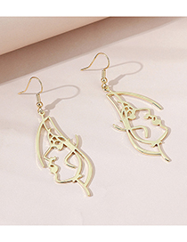 Fashion Golden Face Line Alloy Hollow Earrings