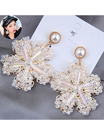 Fashion White Crystal Ice Flower Pearl Alloy Earrings