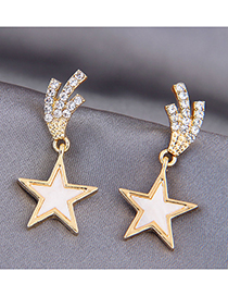 Fashion Gold Color Five-pointed Star Diamond Alloy Earrings