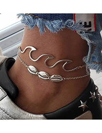 Fashion Silver Color Wave Shell Two-piece Anklet