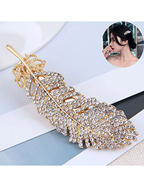 Fashion Gold Color Diamond-studded Feather Alloy Word Clip