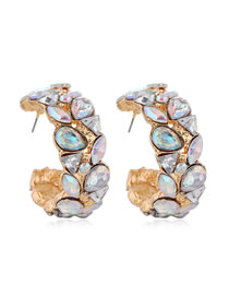 Fashion Gold Color Meniscus Alloy Earrings With Gems