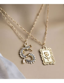 Fashion Gold Color Color Cube Dragon Shaped Diamond Alloy Multilayer Necklace