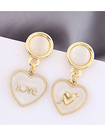 Fashion Gold Color Love Letter Shell Alloy Earrings