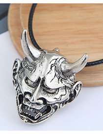 Fashion Silver Color Color Bull Head Pendant Hollow Alloy Necklace