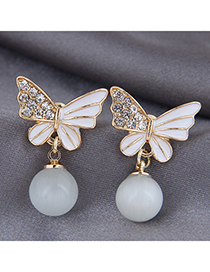 Fashion Gold Color Butterfly Studded Oil Drop Alloy Earrings