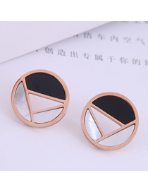 Fashion Rose Gold Color Titanium Steel Geometric Contrast Round Earrings