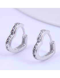Fashion Silver Color Love Micro-inlaid Zircon Alloy Earrings